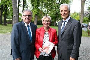 Landratskandidat Frank Vogel, Bürgermeisterkandidatin Carmen Krüger und Stanislaw Tillich in Ehrenfriedersdorf.