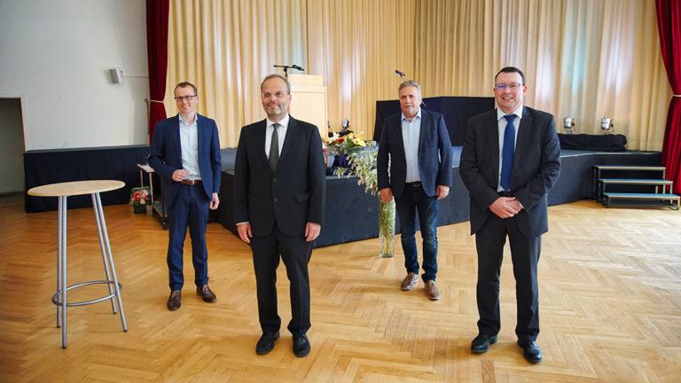 MdB Alexander Krauß, Dr. Felix Klein , Oberbürgermeister Rolf Schmidt und MdL Ronny Wähner (v.l.n.r.)